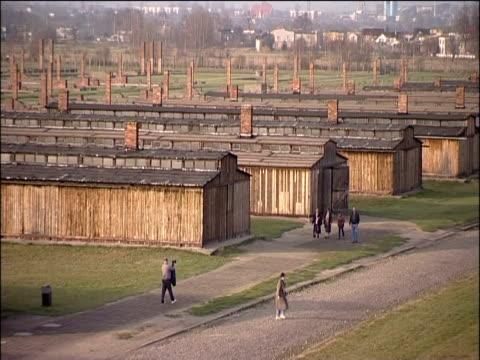view of the barracks at auschwitz concentration camp 2000 - barracks stock videos & royalty-free footage