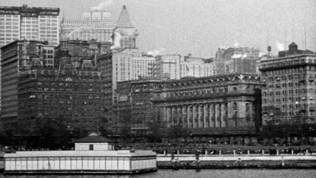 view of the battery in lower manhattan new york city - 1916 stock videos & royalty-free footage