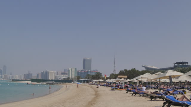 View of the beach on the Corniche, Abu Dhabi, United Arab Emirates, Middle East, Asia