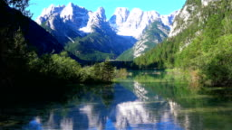 View of the beautiful Lake Landro or Durrensee Lake and the Dolomites