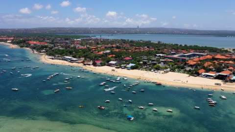 stockvideo's en b-roll-footage met view of the boats on the blue sea and vacation resort in bali, indonesia - bali
