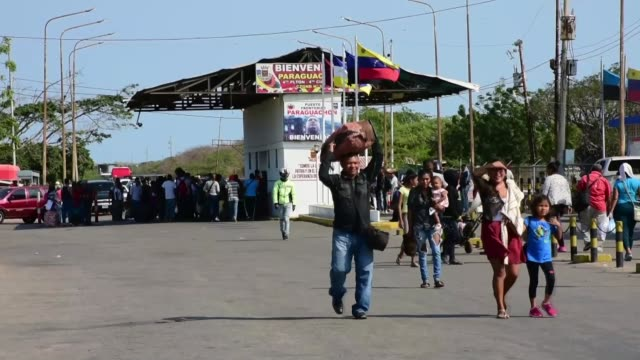 view of the border between colombia and venezuela is seen in paraguachon, in the department of la guajira, colombia, on february 04, 2019. statements... - venezuela stock videos & royalty-free footage