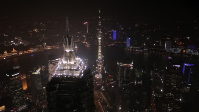 HA WS View of The Bund at night / Shanghai, China