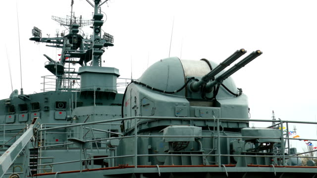 view of the cannon and the combat deck of a modern warship - artillery stock videos & royalty-free footage