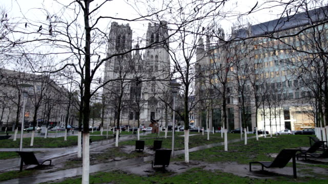 view of the cathedral of st. michael - brussels capital region stock videos & royalty-free footage