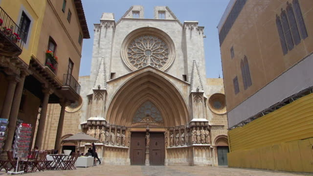View of the Cathedral of Tarragona with People