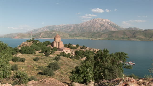 ws view of the church in front of lake cadir dagi / lake van, van district, turkey - lake van stock videos and b-roll footage
