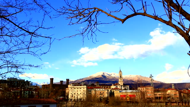view of the city and mountains in winter, ivrea, italy - piedmont italy stock videos & royalty-free footage