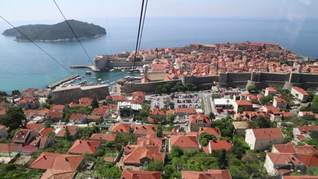 view of the city from a cable car, dubrovnik - stahlkabel stock-videos und b-roll-filmmaterial