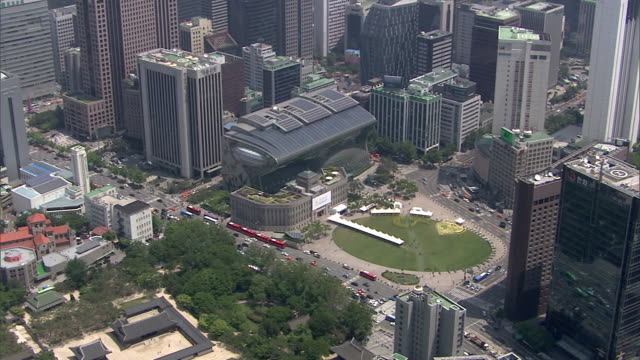 aerial view of the city hall of seoul and skyscrapers of the seoul city - town hall stock videos & royalty-free footage