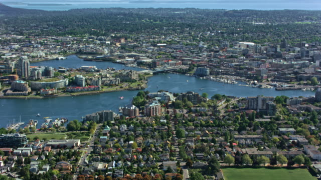 aerial view of the city of victoria - british columbia stock videos & royalty-free footage