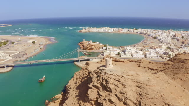 aerial view of the city sur in oman - famous place stock videos & royalty-free footage