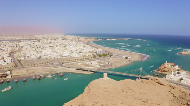 aerial view of the city sur in oman - viewpoint stock videos & royalty-free footage