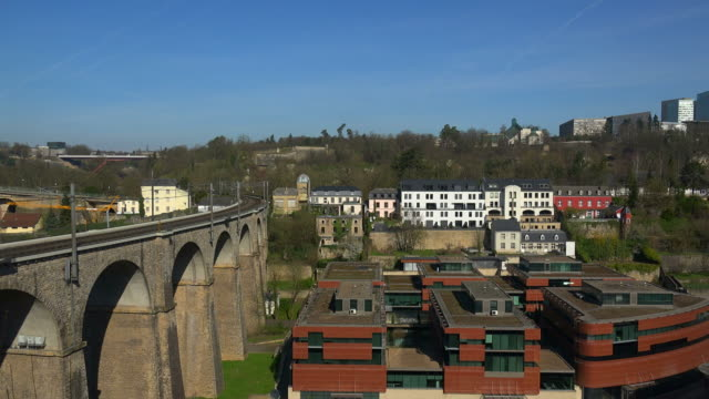 view of the claussen in the old town of luxembourg city and kirchberg, grand duchy of luxembourg - luxembourg benelux stock videos & royalty-free footage
