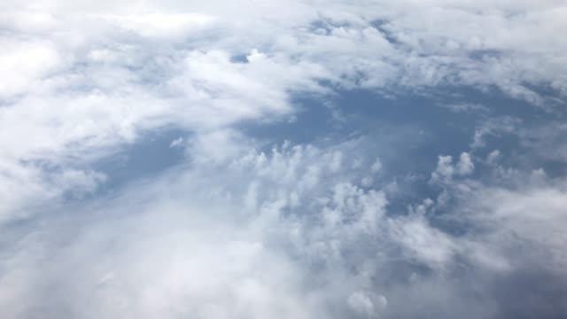 View of the clouds from inside an airplane