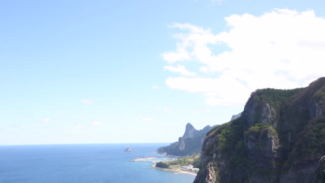 view of the coastal feature in ulleungdo island (the sole island-city in the east sea) - coastal feature stock-videos und b-roll-filmmaterial