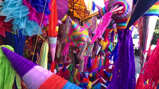 """view of the colorful pinatas on the """"jamaica"""" market on december 13, 2020 in mexico city, mexico. despite recent announcements by the mayor of... - papier点の映像素材/bロール"""