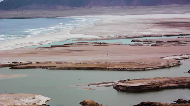 view of the contaminated artificial beach of the mining town of cha–aral - atacama region stock videos & royalty-free footage