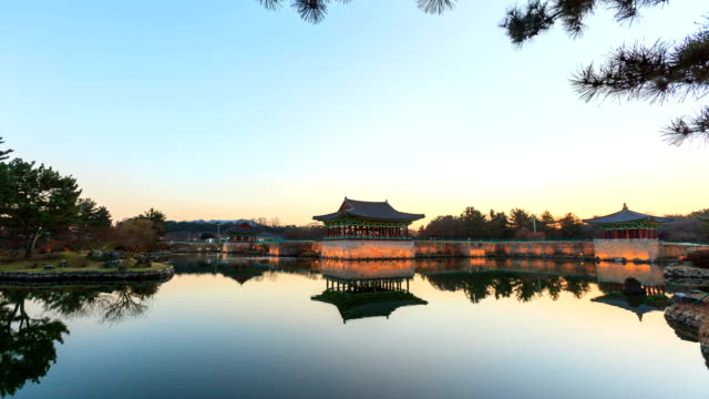view of the donggung palace and wolji pond (it was the banquet site for the important national event in the period of unified silla) in gyeongju south korea - gyeongju stock videos & royalty-free footage
