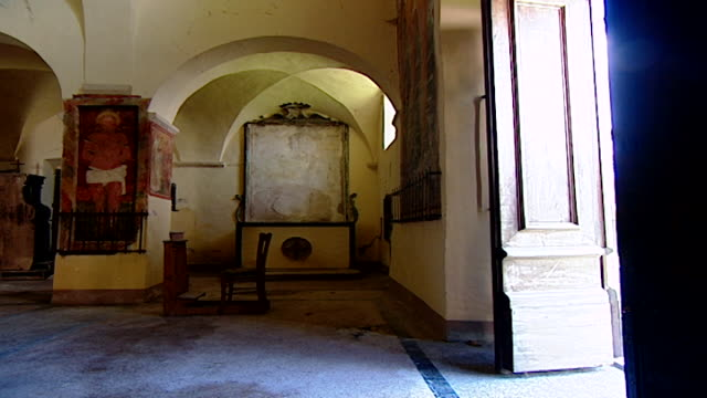 view of the door opening at the church of saint maron in volperino. during the crusades the relics of saint maron, founder of the maronite order,... - the crusades stock videos & royalty-free footage
