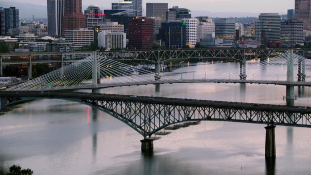 AERIAL View of the Downtown Portland from the Willamette River in the morning