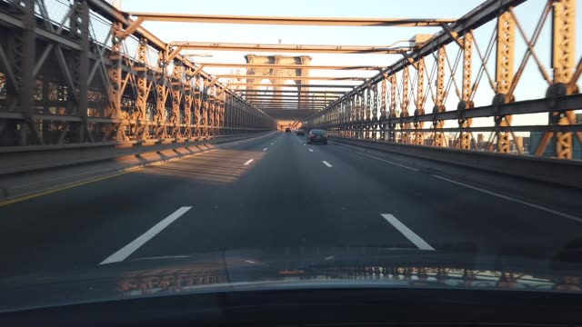 view of the drive over the brooklyn bridge from brooklyn to manhattan on april 02, 2020 in new york city. currently, over 92,000 people in new york... - brooklyn bridge stock videos & royalty-free footage
