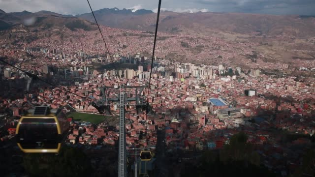 a view of the economically booming city of la paz bolivia on friday october 23 2015 construction and real estate have thrived for years but a drop in... - ボリビア点の映像素材/bロール