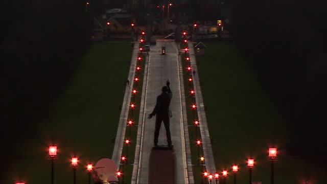 view of the edward carson statue outside stormont - stormont stock videos and b-roll footage