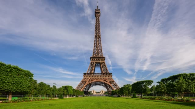 view of the eiffel tower and lawn in paris, france - eiffel tower paris stock videos & royalty-free footage