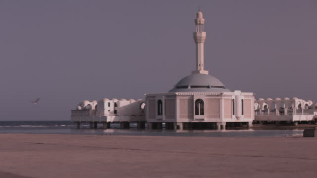 view of the floating rehma mosque on the coast of the red sea in jeddah. - red sea stock videos & royalty-free footage