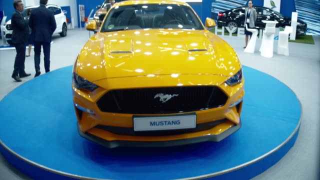 view of the ford mustang gt during the 2019 barcelona motor show, in barcelona, spain, on may 13, 2019. - 2019 stock videos & royalty-free footage