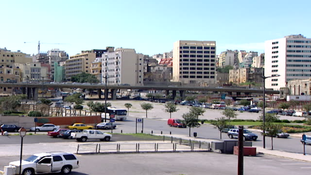 view of the fouad chehab avenue aka central beirut ring road from martyrs' square - main road stock videos & royalty-free footage
