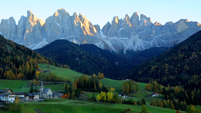 View of the Funes valley St. Magdalena. Dolomites South Tyrol, Italy Bolzano, Europe