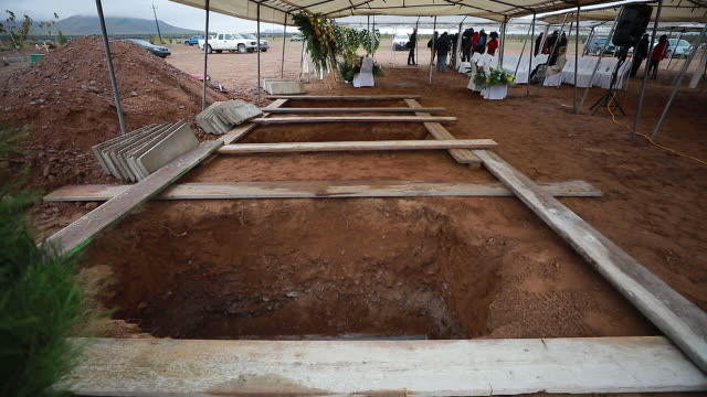 view of the graves prior the funeral held for ronhita maria miller and their sons on november 08, 2019 in le barón, mexico. three families were... - northern mexico stock videos & royalty-free footage