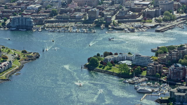 aerial view of the harbor and the city of victoria, canada - canada stock videos & royalty-free footage
