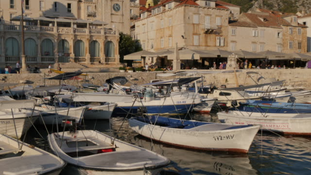 View of the harbour of Hvar, Hvar Island, Dalmatia, Croatia, Europe