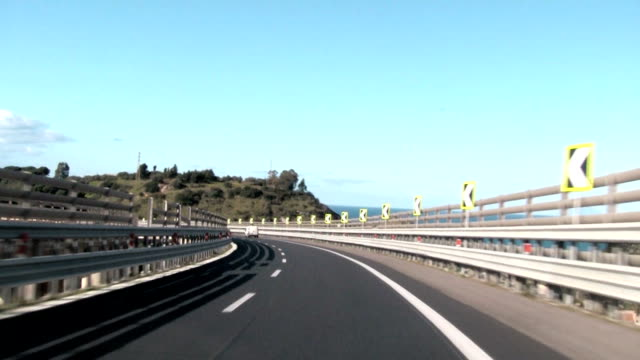 View of the highway during the trip, Italy.