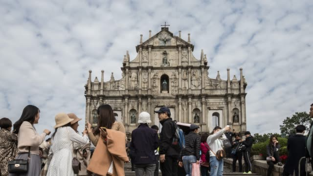 view of the historical district of Macau, a former Portuguese colonial city and now popular destination for tourism
