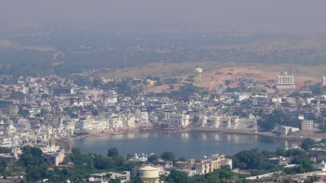 View of the Holy City of Pushkar and it's lake in Rajasthan, India