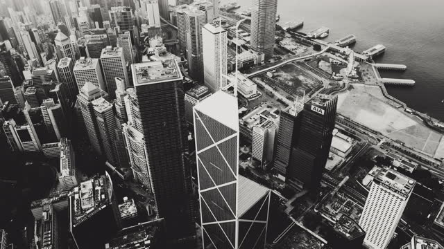 b&w, view of the hong kong city - black and white stock videos & royalty-free footage