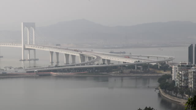 view of the hongkong-zhuhai-macao bridge main bridge. - macao stock videos & royalty-free footage