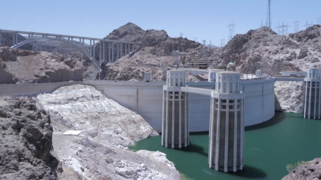 view of the hoover dam and lake mead, nevada/arizona border, united states of america, north america - hoover staudamm stock-videos und b-roll-filmmaterial
