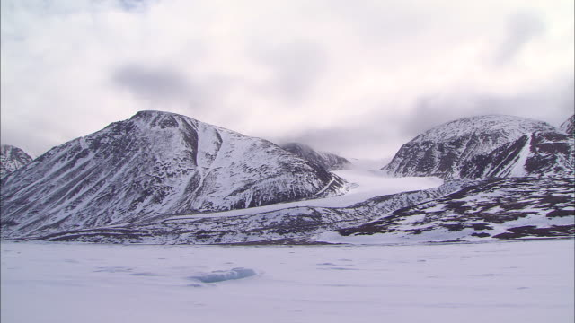 view of the icebergs and the snow-covered ground in the north pole - wide stock videos & royalty-free footage
