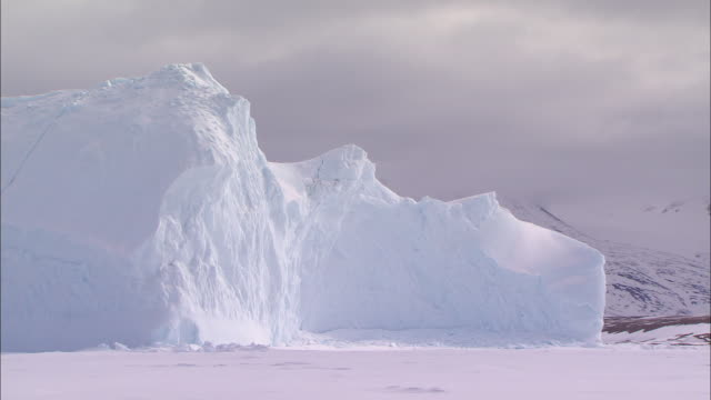 view of the icebergs and the snow-covered ground in the north pole - north pole stock videos & royalty-free footage