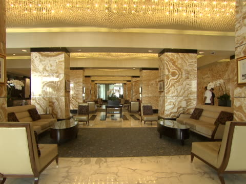 view of the interior of the lobby of the intercontinental hotel. - lobby stock videos & royalty-free footage