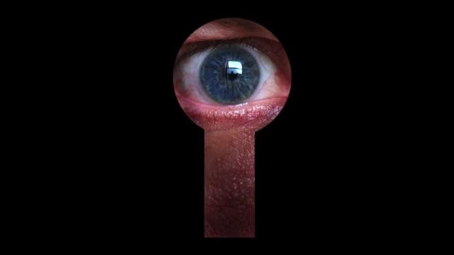 vídeos y material grabado en eventos de stock de view of the keyhole with a peeping eye. - cerradura