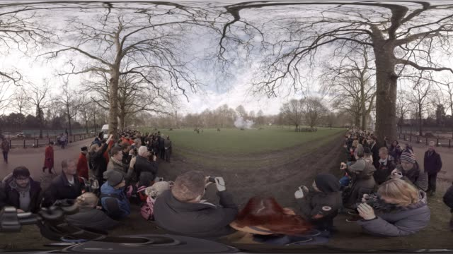 VR view of the King's Troop Royal Horse Artillery firing cannon in Green Park in celebration of Queen Elizabeth II's Sapphire Jubilee