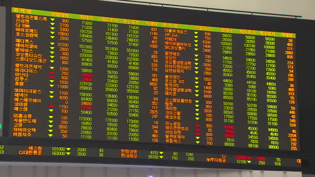 view of the krx(korea exchange) stock market board in seoul, south korea - exchange rate stock videos & royalty-free footage