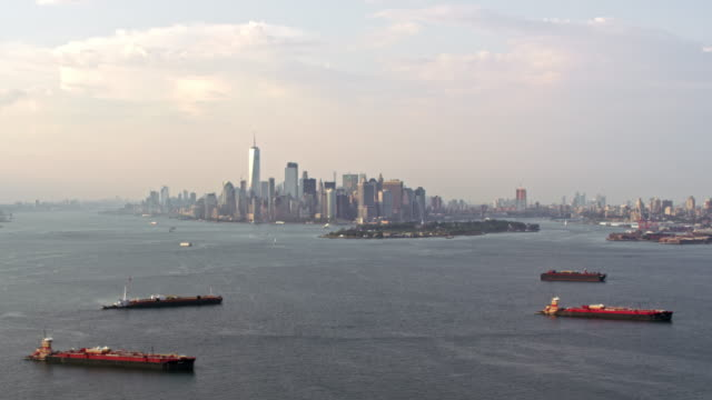 aerial view of the lower manhattan - new york harbor stock videos & royalty-free footage