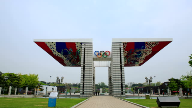 view of the main gate of olympic park (it was built for the 1988 seoul olympic games) in songpa-gu - the olympic games stock videos & royalty-free footage